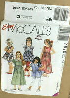 McCalls 7520 Girl Dresses & Tops Size 10-14 VTG Sew Pattern Uncut Back To School