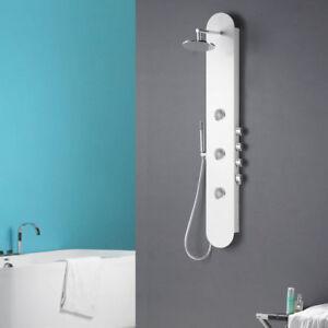Alluminio Pannello Colonna Doccia a pioggia Getti massaggianti Bianco Sanlingo