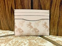 COACH Men's White Leather Card Case Wallet Horse and Carriage Print #91657 / NWT