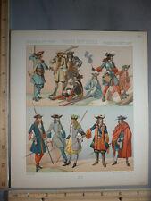 Rare Antique Original VTG France, Men's Costumes Weapons Color Litho Art Print