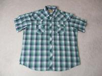 Wrangler Pearl Snap Shirt Adult 2XL XXL Green Blue Western Cowboy Rodeo Mens