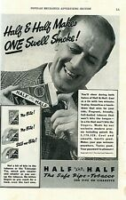"""Vintage Ad Print Half and Half , """"The Safe Pipe Tobacco, 1937. 10 x 6.5."""