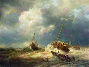 Painting Seascape Maritime Achenbach Ships Storm Dutch Coast Canvas Art Print