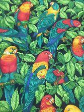 Parrots Leaves Jungle Colorful Vintage Cotton Fabric Quilt Sew BTHY OOP