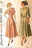 Vintage 1950s Sewing Pattern Simplicity #2429 Size 16 Bust 34 New Look Dress