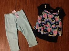 JUSTICE  LEGGINGS / SHORT SLEEVE SHIRT W ATTACHED TANK TOP NWT 55.00 GIRLS SZ. 5
