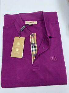 Burberry london men's purple amesthyst  check placket polo shirt