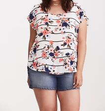 Torrid Floral Print Georgette Button Back Top White 0X Large 12 0 #76943