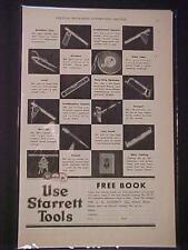 ~STARRETT TOOLS MACHINIST MEASURING TOOL ART PRINT AD~ OLD ANTIQUE VINTAGE 1930