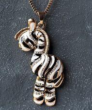 Neu 73cm HALSKETTE ZEBRA mit STRASSSTEINE Farbe gold/schwarz/weiß STRASS Pferd
