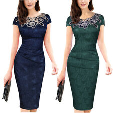 Womens Ladies Stretch Floral Embroidery Bodycon Lace Office Work Pencil Dresses