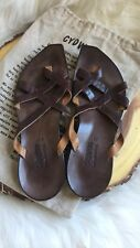 Cydwoq Hand Made in USA Leather Boho Brown Leather Shoes Sandals 40