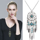 Women Turquoise Feather Necklace Earrings Dream Catcher Pendant Chain Jewelry