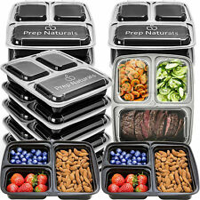 Bento Lunch Box Set 15 Pack 3 Compartment Meal Prep Containers Food Storage Lids