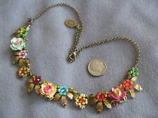 Fabulous Signed Michal Negrin Necklace Multicolor Flowers and Crystals