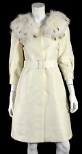 J MENDEL Ivory Silk Lynx Fur Detachable Collar Belted Long Coat 2