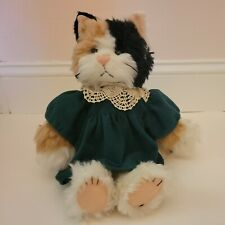 Cottage Collectibles by Ganz Callie Plush Calico Cat 1996 Green Dress Orig Tag
