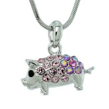 Pig Necklace Made With Swarovski Crystal PIGLET Piggy Pink Charm Luck Pendant