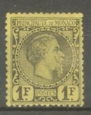 "MONACO STAMP TIMBRE N° 9 "" PRINCE CHARLES III 1F NOIR 1885 "" NEUF xx TB SIGNE"