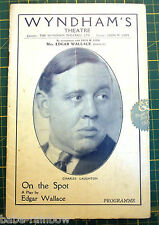 "EDGAR WALLACE - CHARLES LAUGHTON - Original Programme 1930 - ""On the Spot"""