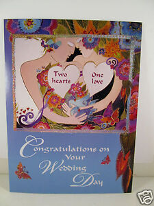 Laurel Burch Greeting Card Congratulations Wedding Day Two Hearts One Love New