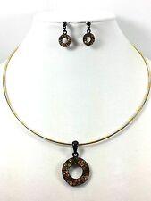 Vintage Jewelry LOT OF 2 Necklace Earrings Set Gold/Black Glass Rhinestone#333