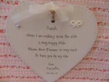 Wedding bridesmaid maid of honour personalised heart keepsake gift 15cm