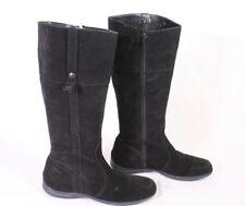 9S Esprit Damen Stiefel Gr. 37 Velours Leder schwarz flach weiche Sohle
