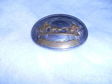 VINTAGE HEADING AND HEELING NICKLE SILVER BELT BUCKLE