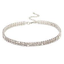 2 Row Clear Austrian Rhinestone Crystal Party Bridal Adjustable Choker Necklace