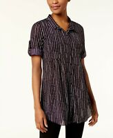 NEW Style & Co Petite Printed Mesh Button Front Top in Grape Size PS $49 (S3)