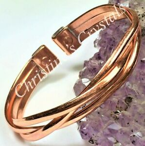 MAGNETIC Solid Copper CROSSOVER Bracelet - Healing Arthritis Pain Relief ( MB94)
