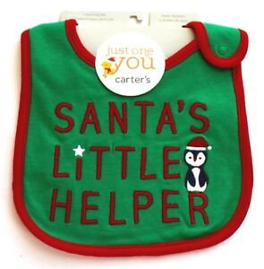 "Carter's Just One You Christmas Penguin ""Santa's Little Helper"" Bib Green"