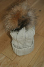 Cable Knit Bobble Hat Beanie Natural Raccoon Fur Pom Pom.UK SELLER.IN STOCK.