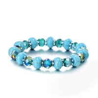 Turquoise Blue Gemstone and Crystal Beads Silver Spacers Bangle Bracelet BB239