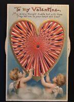 Clapsaddle~Mechanical Kaleidoscope Valentine~Cupids~Heart~Spinner Postcard-s824