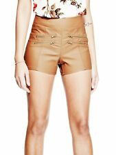 GUESS Shorts Women's Mid Rise Stretch Coated Shorty Shorts w Zippers XS Tan NWT