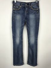 Silver Suki Womens Distressed Mid Rise Slim Boot Cut Large Stitch Jeans Size 26