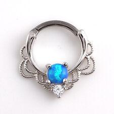 Tragus Septum Hoop Steel Nipple Opal Lip Rings Bead Piercing Jewelry Ring Nose