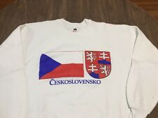 Vintage Large Ceskoslovensko Czechoslovakia Large White Sweatshirt Europe 90s