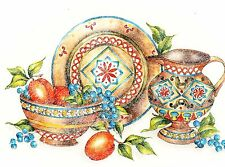"1 Country Pottery Fruit Bowl Tray 10-3/4"" X 7"" Waterslide Ceramic Decal Xx"