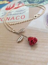 FREE GIFT BAG Gold Plated Beauty and the Beast Flower Red Rose Necklace Chain