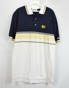 Vintage 90s Mens Medium University of Michigan Spell Out Striped Golf Polo Shirt