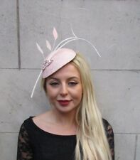 31e82a52 Large Blush Nude Light Pink Ivory Cream Feather Hat Fascinator Headband 6634