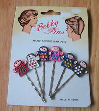 Vintage HAND PUPPET Bobby Pins Hand Painted set of 6 carded Retro Cute