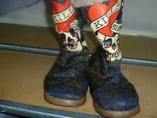 Rare Collectible Ed Hardy blue gold boots w heart skull crossbones love kills 6