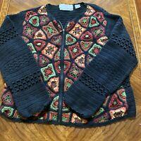 Marisa Christina Petite Knitted By Hand Cardigan Sweater Women's PL Full Zip