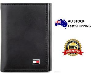 New Genuine Leather Tommy Hilfiger Oxford Slim Trifold Wallet Black