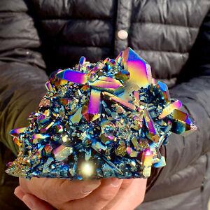 444G Rainbow FLAME AURA Quartz Plating TitaniumCrystal Cluster Healing SK807