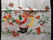 Vintage Crepe Paper Christmas Decoration,Panel- Santa and His Wildlife Friends